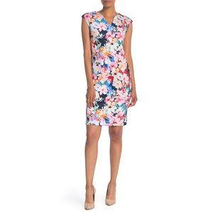 NWT Nordstrom T Tahari V-Neck Floral Scuba Dress
